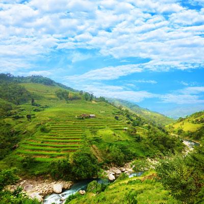 Ein atemberaubender Ausblick auf die Berge von Sa Pa