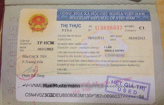 Beispiel für ein Vietnam Visum in einem deutschen Reisepass.