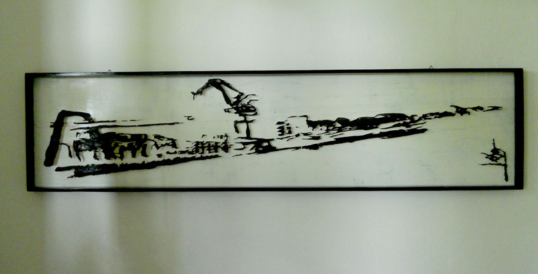Tass Wolf - Hafen - 1991/2005 - Öl auf Papier an Fäden - 43 x 182 cm