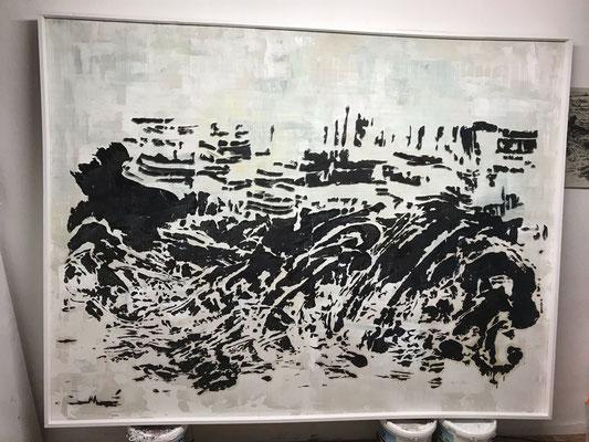 Tass Wolf - Bald ist alles still (im Bau) - 2018/2020 - Öl auf Leinwand, Papier, Fäden - 188 x 244 cm