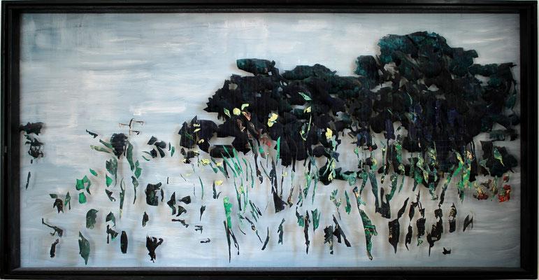 Tass Wolf - when you... - 2008/2012 - Öl auf Leinwand, Papier, Fäden - 126 x 246 cm