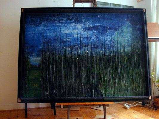 Tass Wolf - Feld 1 - 2007/2008 - Öl auf Holz, Papier, Fäden - 139 x 190 cm