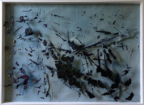 Tass Wolf - Form - 2015/2016 - Öl auf Leinwand, Papier, Fäden - 137 x 185 cm