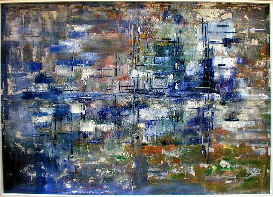 Tass Wolf - ...was ist, was wird, was bleibt - Teil 2 - 2010 -  Öl auf Leinwand, Papier, Fäden - 146 x 204 cm