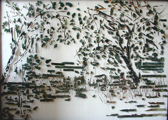 Tass Wolf - Garten - 2006/2007 - Öl auf Holz, Papier, Fäden - 139 x 190 cm