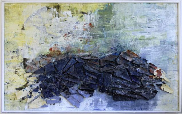 Tass Wolf - Blau davor - 2014/2015 - Öl auf Leinwand, Papier, Fäden - 152 x 244 cm