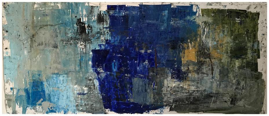 Tass Wolf - Ohne Titel - 2019 - Öl auf Papier - 72 x 152 cm