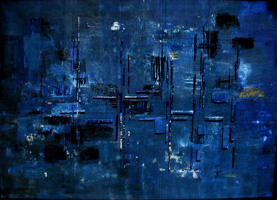 Tass Wolf - ...was ist, was wird, was bleibt - Teil 3 - 2010 -  Öl auf Leinwand, Papier, Fäden - 146 x 204 cm