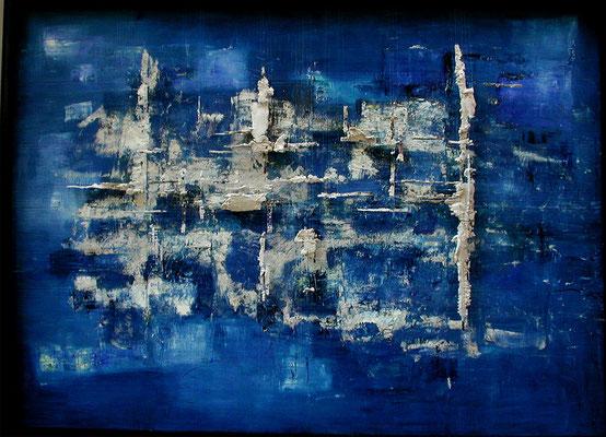 Tass Wolf - ...was ist, was wird, was bleibt - Teil 1 - 2010 -  Öl auf Leinwand, Papier, Gips, Fäden - 146 x 204 cm