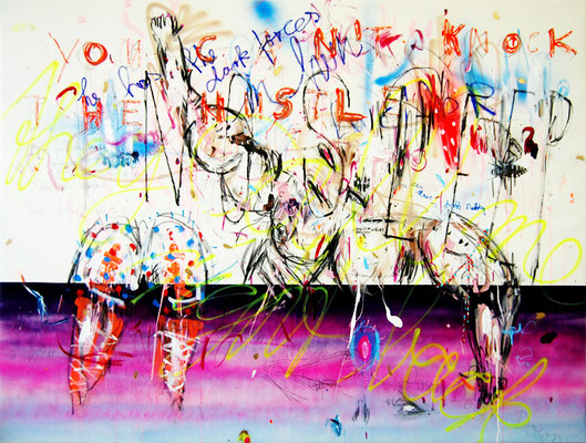 SCHLUCKISCHLUCKI RUCKI ZUCKI, 2011, mixed media on canvas, 150x200cm