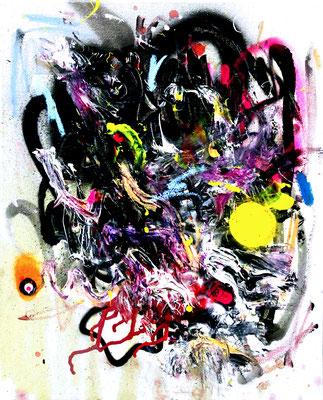 HAI UND HUNGRIG, 2016, mixed media on canvas, 50x40cm