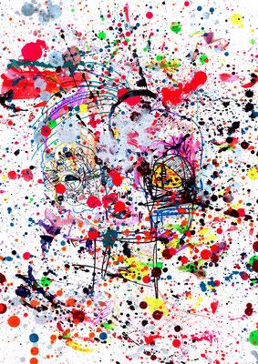 ENDLICH WIEDER KRIEG, 2016, mixed mdia on paper, 42x29,7cm