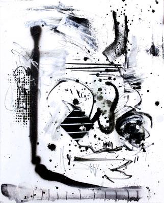 MEIN TASER IST POTENT, 2016, mixed media on canvas, 50x40cm