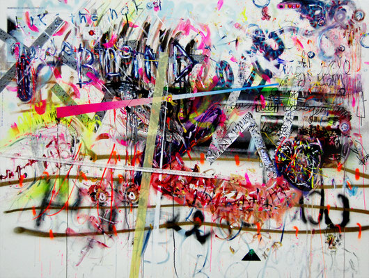 STRESS FINDET STATT, 2010, mixed media on canvas, 150x200cm