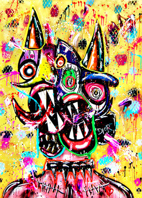 ONLY GOD CAN JUDGE ME, 2020, mixed media on wood, 140x100x3,5 cm (GOLDEN BACKGROUND)