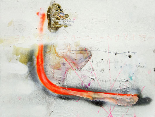 NO LOVE NO GLORY WURST, 2010, mixed media on canvas, 30x40cm