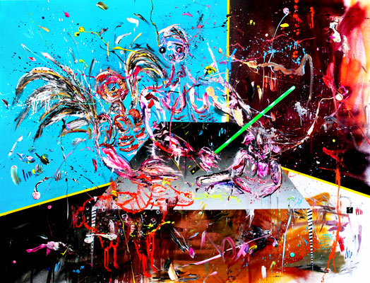 OPFERLAMBO, 2016, mixed media on canvas, 150x200cm