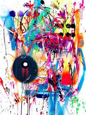 MICH EINMAL TÖTEN REICHT NICHT, 2018, mixed media on canvas, 120x90cm