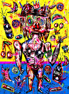 NO LOVE IN THIS JUNGLE, 2020, mixed media on canvas, 200x150cm
