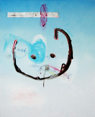 TAUGHT ME TO LIE, 2010, mixed media on canvas, 50x40cm