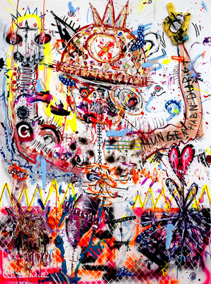ALCOHOOLIC LOVE AFFAIRS, 2013, mixed media on canvas, 120x90cm