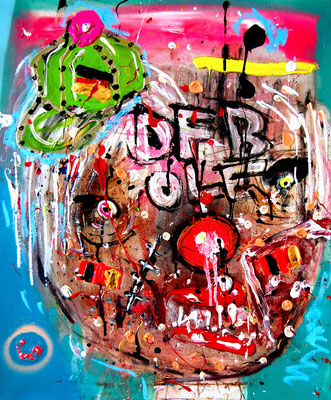 ENDLICH WIEDER VOELKERBALL, 2014, mixed media on canvas, 60x50cm