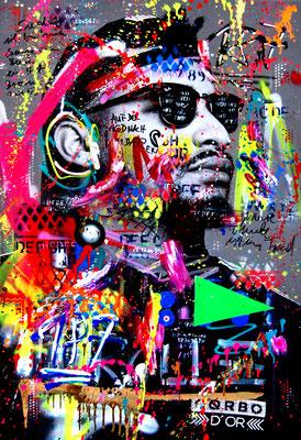 MARC JUNG X MARCO FISCHER // MAXWELL 187 STRASSENBANDE OBSTHUSTLER 2019, mixed media on canvas, 115x75cm