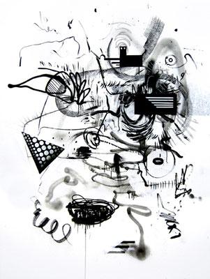 FLATSCREEN EIN PROZENTER, 2014, mixed media on canvas, 200x150cm