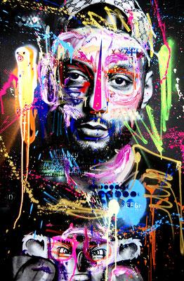 MARC JUNG X MARCO FISCHER // Hanybal VANILLA THUNDER, 2018, mixed media on canvas, 115x75cm
