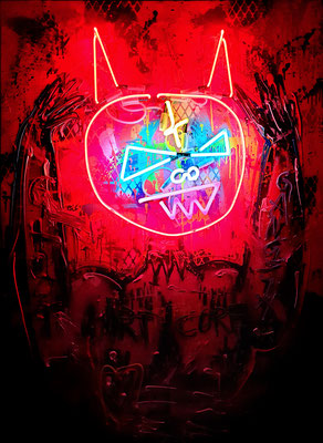 PERSONAL JESUS, 2021, mixed media and neon light with dimmer on wood, 140x100cm