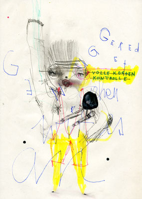 HALTS MAUL STEIG EIN, 2010, mixed media on paper, 29,7x21cm