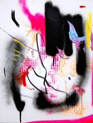 YEAH ENDLICH WIEDER MONTAG, 2015, mixed media on canvas, 40x30cm
