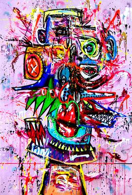 DER PROPHET GESANDTE HOOLIGAN, 2019, mixed media on canvas, 150x100cm