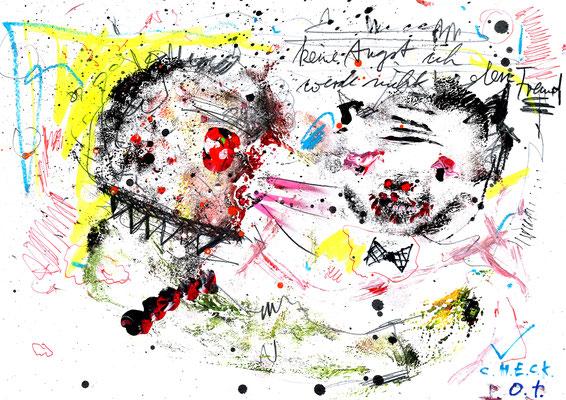 KONFLIKTSCHEU BEQUEM GEFÜHLSKALT, 2015, mixed media on paper, 21x29,7cm
