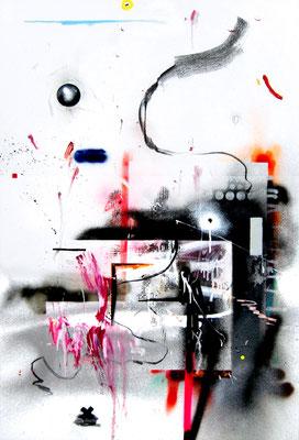 ICH WÜRDE AUCH LIEBER VON DEN AMIS GEFOLTERT WERDEN ALS VON DEN DRECKS CHINESEN, 2015, mixed media on canvas, 150x100cm