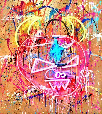 SYMPATHY FOR THE DEVIL 3, 2021, mixed media and neon light on wood, 80x70x6,5cm (golden background)