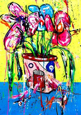 BLUE IVY, 2018, mixed media on canvas, 100x70cm