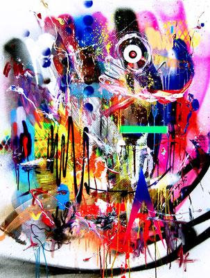 ICH BIN WIE BETON ICH KANN NICHT REFLEKTIEREN, 2017, mixed media on canvas, 120x90cm