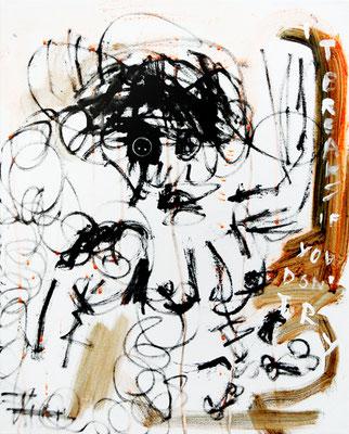 DURCHGEPEITSCHTE UND RIESEN III, 2011 mixed media on canvas, 50x40cm