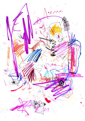 NO MORE PARTIES IN LA, 2016, mixed mdia on paper, 42x29,7cm