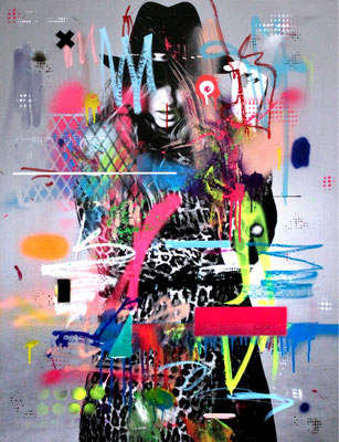 COLLABORATION WITH MARCO FISCHER // EXPENSIVE TASTE OF WOMEN, mixed media on print on canvas, 2016, 100x70cm