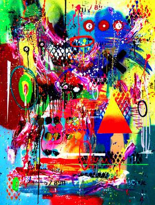 WELCHER BÜRGERKRIEG BIST DU, 2019, mixed media on canvas, 120x90cm