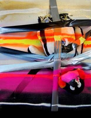 GOTHAMS FINEST SACKOS WEINEN WENN SIE GLÜCKLICH SIND, 2012, mixed media on cancas, 90x70cm