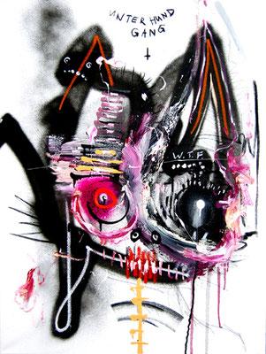 ARIGATO CUTE CERBERUS II, 2014, mixed media on canvas, 80x60cm