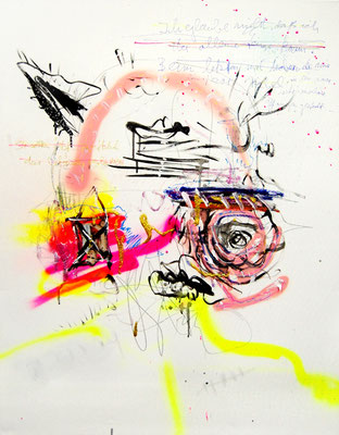CAPTAIN FUTURE SUCHT NACHFOLGE EVA BROWNY, 2012, mixed media on canvas, 90x70cm
