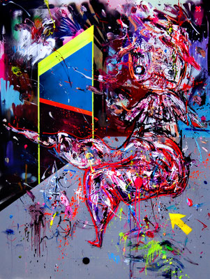 BACON AND EGGX, 2016, mixed media on canvas, 200x150cm