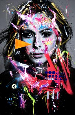 MARC JUNG X MARCO FISCHER // Lena Meyer Landrut BLACK PEARL, 2018, mixed media on canvas, 115x75cm