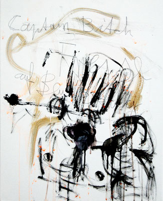 DURCHGEPEITSCHTE UND RIESEN II, 2011 mixed media on canvas, 50x40cm