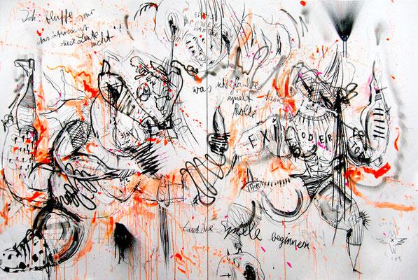 WAYNE INTERESSIERTS IM KLEINEN SCHWARZEN, 2012, mixed media on canvas, 200x300cm