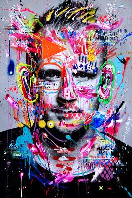 MARC JUNG X MARCO FISCHER // Marc Jung ALPHA DOGG, 2017, mixed media on canvas, 115x75cm